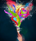 Colored splashes in abstract shape Royalty Free Stock Image