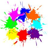 Colored splashes in abstract shape. Illustration Stock Photography