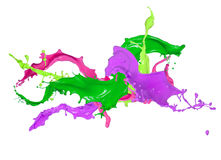 Colored splashes in abstract shape. Isolated on white background Royalty Free Stock Photography