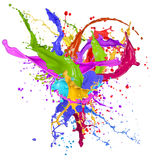 Colored splashes in abstract shape. Isolated on white background Royalty Free Stock Photos