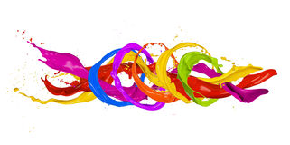Colored splashes. In abstract shape, isolated on white background Royalty Free Stock Image