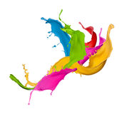 Colored splashes in abstract shape Stock Images