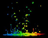 Colored splashes. On black background royalty free illustration