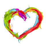 Colored splashes heart Stock Photo
