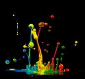 Colored splashes. Isolated on black background Stock Photo