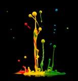 Colored splashes. Isolated on black background Stock Images