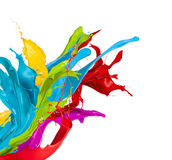 Colored splashes on white background Royalty Free Stock Photography