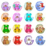 Colored splotches with teddy bears Royalty Free Stock Images