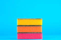 Colored sponges. Three kitchen sponges colored on blue background Royalty Free Stock Images