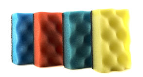 Colored sponges for cleaning and washing dishes isolated Royalty Free Stock Photo