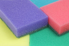 Colored sponges for dishwashing abstract Royalty Free Stock Image
