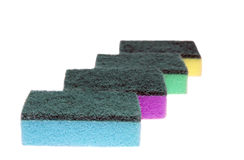Colored sponges for washing dishes and cleaning Stock Photography