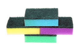 Colored sponges for washing dishes and cleaning Stock Image
