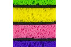 Colorful colored sponges on a white background Stock Photography