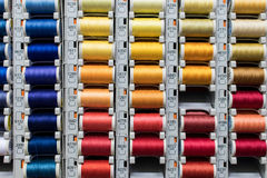 Colored spools of sewing thread Stock Images