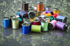 Colored spools of thread Stock Image
