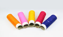 Colored spools of threads Royalty Free Stock Images