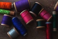 Colored spools of threads Stock Photography