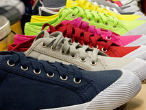 Colored sports shoes, rubber and canvas. Colored sports shoes made of rubber and canvas Royalty Free Stock Photography