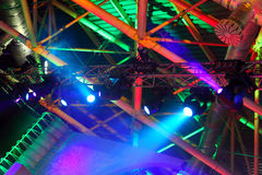 Colored spotlights on ceiling Royalty Free Stock Photo