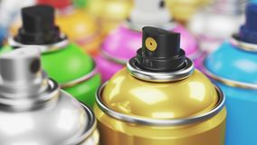 Colored spray paint cans closeup. Render 3d Royalty Free Stock Photo