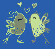 Colored spring couple of birds in love postcard. Colored spring birds in love hand drawn illustration available in vector format Stock Photography
