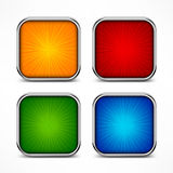 Colored square buttons. Colored glassy square buttons on white, vector illustration Stock Photos
