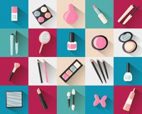 colored square flat icons cosmetics royalty free illustration