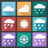 Colored square icons set of weather forecast Stock Image