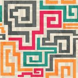 Colored square spiral pattern with grunge effect stock illustration