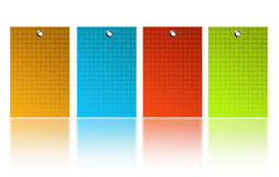 Colored squares. Yellow, blue, red and green squares over white back ground Stock Photos
