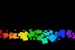 Colored squares on a black background. Fun and very colorful series of squares or pixels in all the colors of the spectrum, from light to dark Stock Image