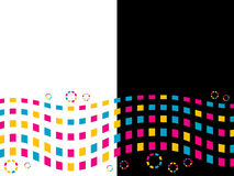 Colored squares and circles. On an abstract background Royalty Free Stock Images