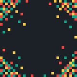Colored squares on dark. Abstract pixel background. Colored squares on dark background. Vector illustration Stock Photos