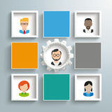 4 Colored Squares Frames Gear Humans. Infographic design with squares and gear wheel on the gray background vector illustration