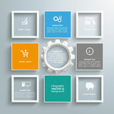 5 Colored Squares And Frames Gear. Infographic design with squares and gear wheel on the gray background stock illustration