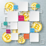 Colored Squares Frames Golden Bitcoins Data Blockchain. Infographic design with colorful rectangle squares, data and golden bitcoins on the gray background vector illustration