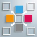 4 Colored Squares 5 Frames Outsourcing Arrows. Infographic design with squares and arrows on the gray background vector illustration