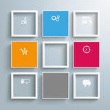 4 Colored Squares 5 Frames Template. Infographic design with squares on the gray background vector illustration