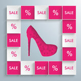 Colored Squares High Heels Infographic. Squares with high heels on the gray background royalty free illustration