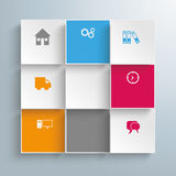 9 Colored Squares Infographic. Infographic design on the gray background stock illustration