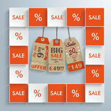 Colored Squares Price Stickers Infographic. Squares with price stickers on the gray background royalty free illustration