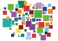 Colored squares. In a random geometric pattern Royalty Free Illustration