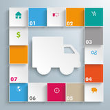 Colored Squares Shipment Infographic. Infographic design on the gray background vector illustration