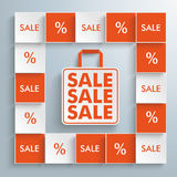 Colored Squares Shopping Bag Stock Photography