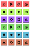 Colored squares with symbols on white background Stock Image