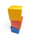 Colored squares toys. Colored squares on a white background royalty free stock photo