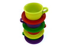 Colored stacked coffee cups on white Royalty Free Stock Photo