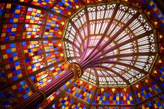 Colored stained glass ceiling in Old Louisiana State Capitol stock images