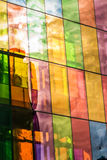 Colored stained glass reflections of Montreal Convention Center Stock Photo